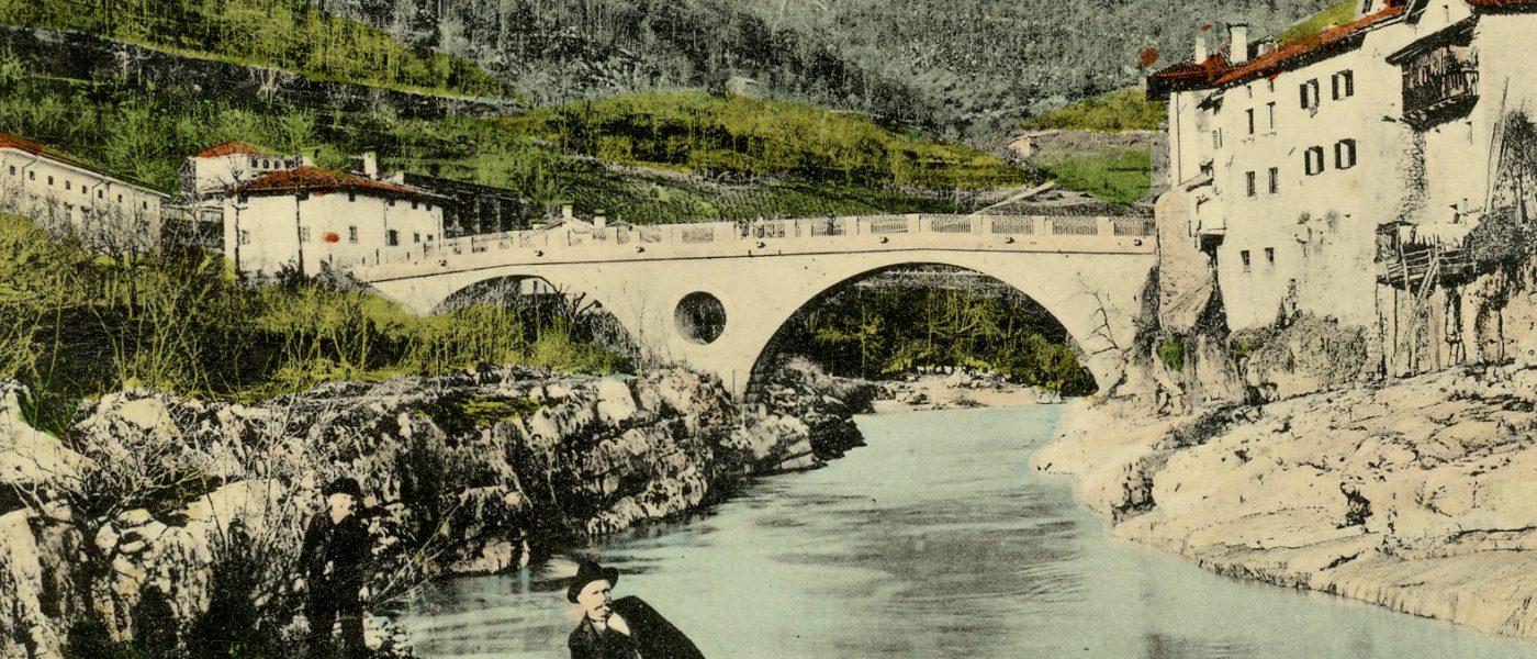 Slika mosta v Kanalu ob Soči - SI_PANG/0667 Zbirka razglednic krajev, Kanal 712, (odposlana 1922, op. razglednica je starejša, vsaj že l. 1909)