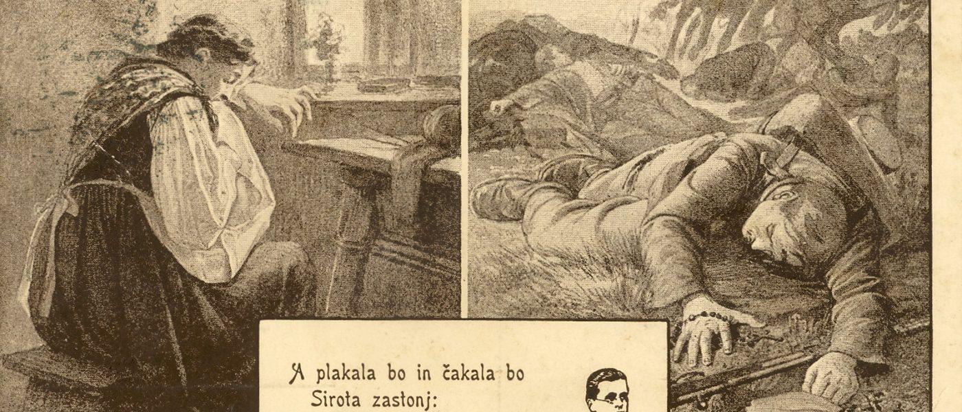 SI_PANG/0027, te 1, razglednica z verzi Simona Gregorčiča, (s. d.)